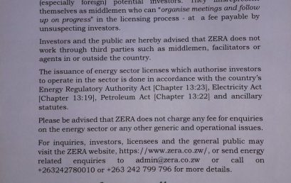 Investors, licensees urged to engage ZERA directly
