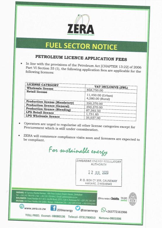 Fuel Sector Notice:  Petroleum Licenses Application Fees Effective 22/07/2020