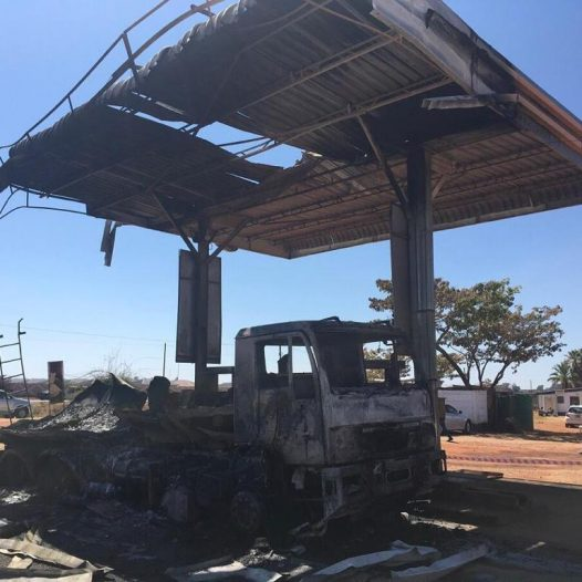 Fire guts down  fuel service station